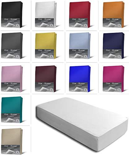 one-home Jersey Spannbettlaken Spannbetttuch Bettlaken weich 100% Baumwolle Rundumgummi, Farbe:Weiß, Maße:90-100 x 200 cm