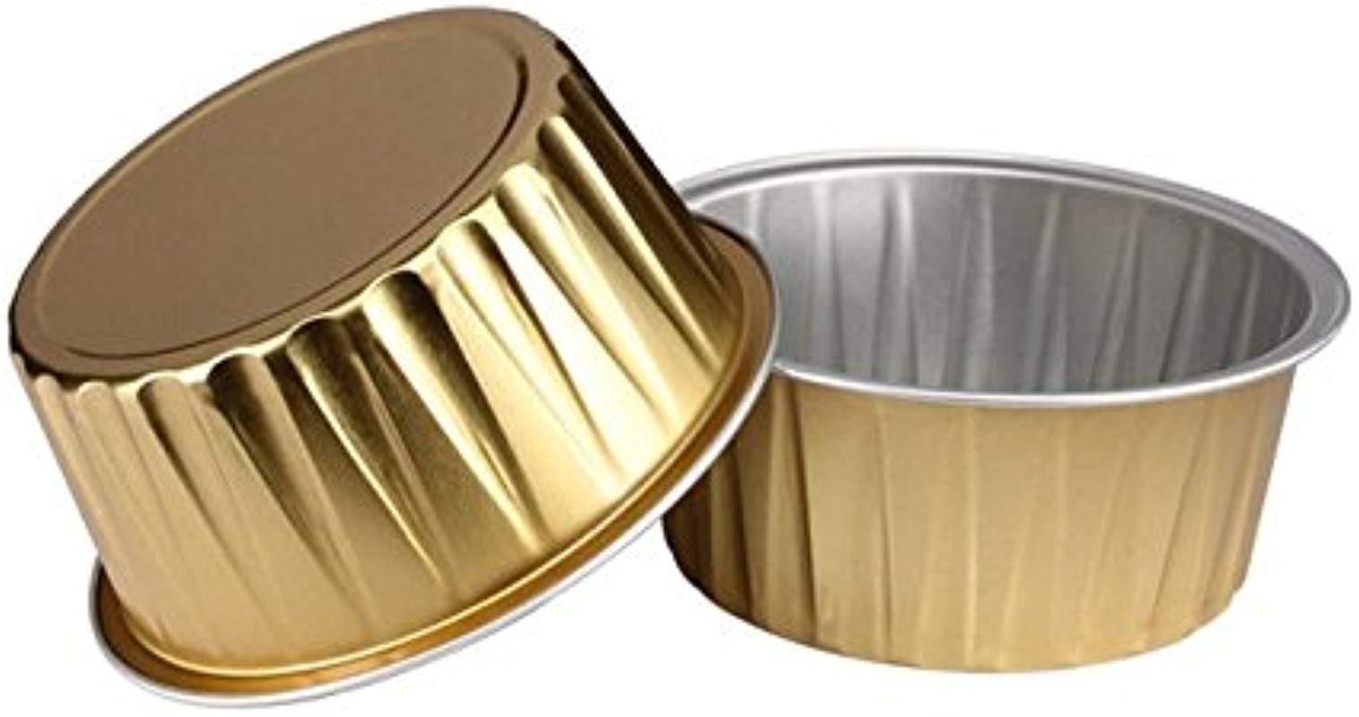 KEISEN 3 2 5 Mini Disposable Aluminum Foil Cups 125ml 100 PK 4OZ For Muffin Cupcake Baking Bake Utility Ramekin Cup GOLD