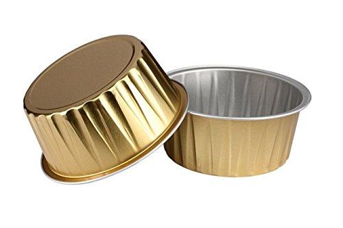 """Keisen 5 oz 3 2/5"""" Conjunto de 24 Vajilla de Aluminio y Tazas de 125ml para la Magdalena del Hornear Mollete Utilidad Ramekin Copa"""