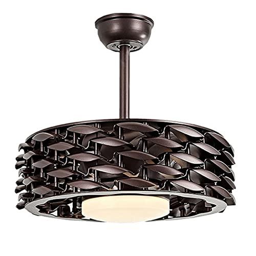 Ventiladores de techo LED con iluminación, luz de techo con ventilador invisible, ventiladores de techo modernos sin aspas con Luz de techo regulable con control remoto Velocidad del viento ajustable