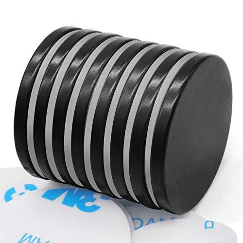 Selbstklebende Neodym Magnete, 8 Stück selbstklebende Magnete mit Epoxidbeschichtung, Anti-Rost Starke N52 Runder Scheibe Magnet mit Doppelseitigem Klebeband - 32mmX3mm