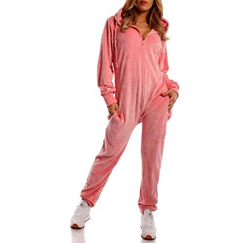 Crazy Age Damen Jumpsuit aus Samt (Nicki, Velvet) Wohlfühlen mit Style. Elegant, Kuschelig, Weich. Overall Ganzkörperanzug Onesie (Rosa, S)