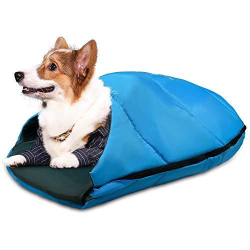 GEERTOP Dog Sleeping Bag Durable Packable Pet Sleeping Bed Comfortable Washable, Portable Pet Bed for Cats and Small Dogs - Dog Bed for Camping Hiking Cottage Beach