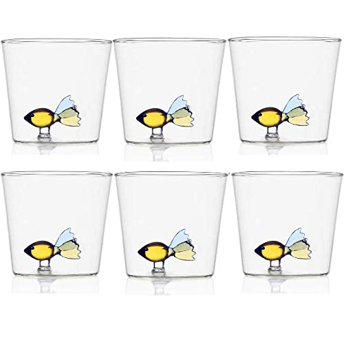 Ichendorf Set 6 Bicchieri da Acqua Decorati Pesce colorato Animali Animal Farm