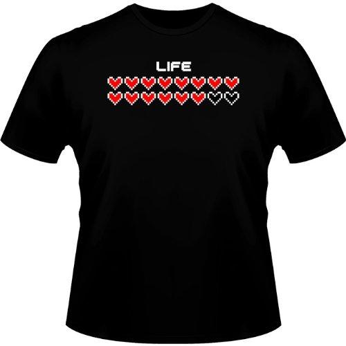 Okiwoki T-Shirt Noir Jeux Vidéo Pixel parodique Pixel Design : Life (Parodie Jeux Vidéo Pixel)