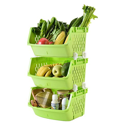 Antislip 3 lagen 4 layersPlastic mand Keukenrekje plantaardige opbergrek opslagvloer opslagplaats Verf (Color : Green, Size : 3 layers)