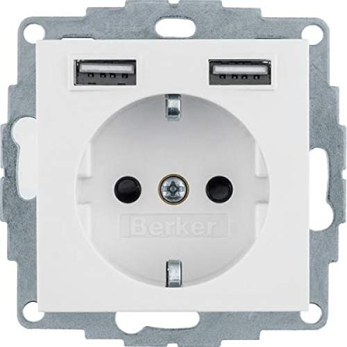 Berker Steckdose SCHUKO/USB 48031909 S.1, polarweiß mt. S.1 Steckdose 4011334510529