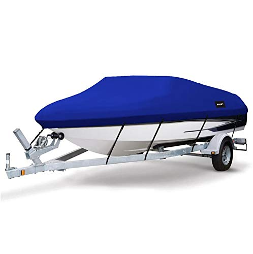 Gycdwjh Funda de Lancha Motora, Impermeable Tela de 300D Oxford Funda para Barco con Correas de Fija Trailerable Cubierta para Botes para V-Hull Vela Pesca Esquí Barco,Azul,20to22FT