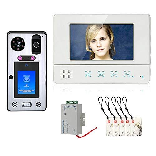 Videoportero, Kits de sistema de intercomunicación de Timbre de Video de 7 pulgadas, cámara + monitor, con desbloqueo de tarjeta IC de huella digital de reconocimiento facial