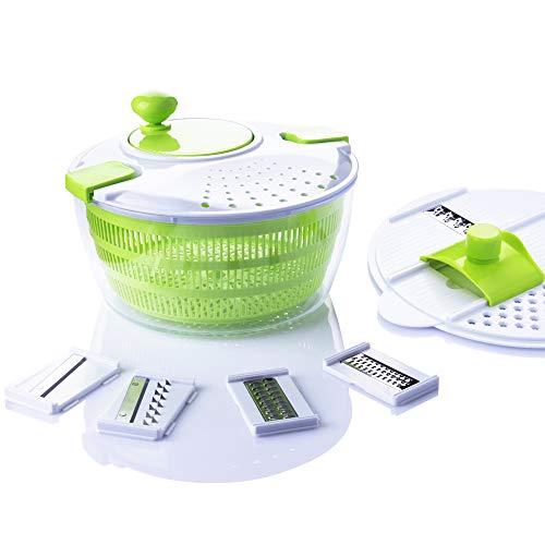 7-in-1-Multifunktions-Küchenhelfer-Set, 4 l, Salatschleuder, Gemüse-Trockner, Reibe, Hobel