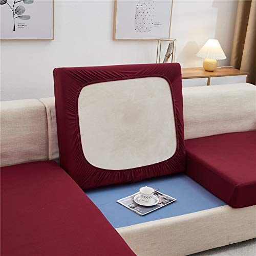 Sofa Seat Cushion Covers, Sofa Cushion Slipcovers Stretch, Couch Cushion Covers Replacement for Individual Cushions (Red,1-Seater)