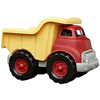 Green Toys Dump Truck in Yellow and Red - BPA Free Phthalates Free Play Toys for Gross Motor Fine Motor Skill Development Pretend Play  Red/Yellow