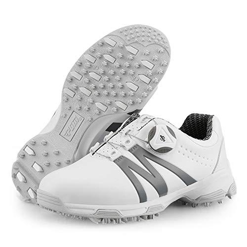 GRASSAIR PGM Golfschuhe für Kinder mit rotierenden Schnürsenkeln wasserdichte atmungsaktive Sportschuhe Verschleißfeste rutschfeste Turnschuhe für Jungen und Mädchen,Grau,33