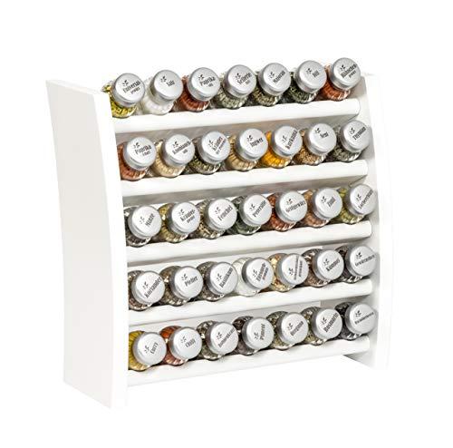 Gewürzregal, Küchenregal aus Holz für Gewürze und Kräuter, 35 Gläser, Gald - 35F 7x5 weiß matt