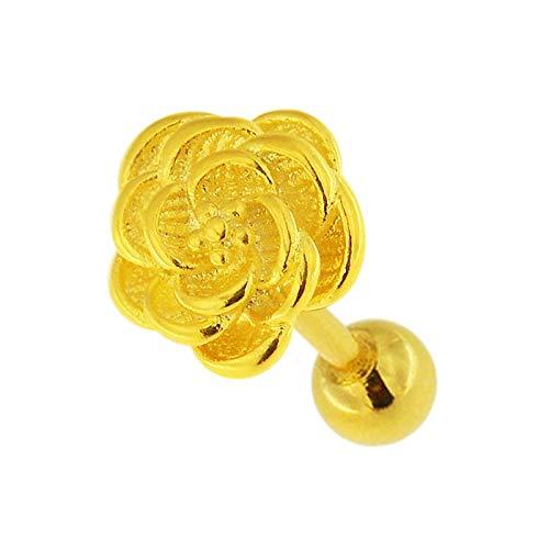 Gold PVD Geprägte Rose Blume Design Chirurgenstahl Helix Tragus Piercing Schmuck