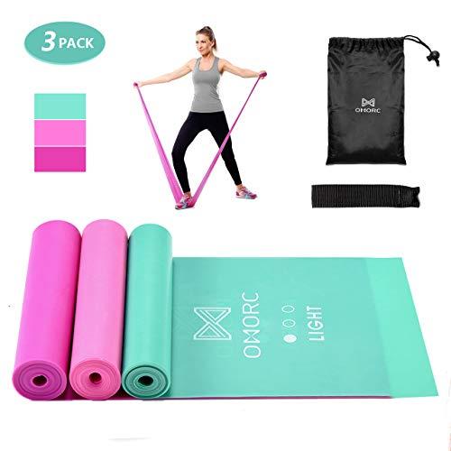 OMORC Elastico Fitness, 3 Set di Fasce per Esercizi con Ancora per Porta, Guida per Esercizi e Borsa per Allenamento a Casa, Terapia Fisica, Yoga, Pilates, Riabilitazione