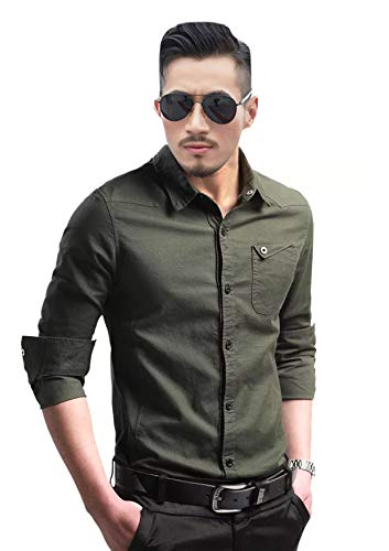 TB Trybuy.in Exclusive Designer Army Green Cotton Solid Casual Shirt for Men (X-Large)