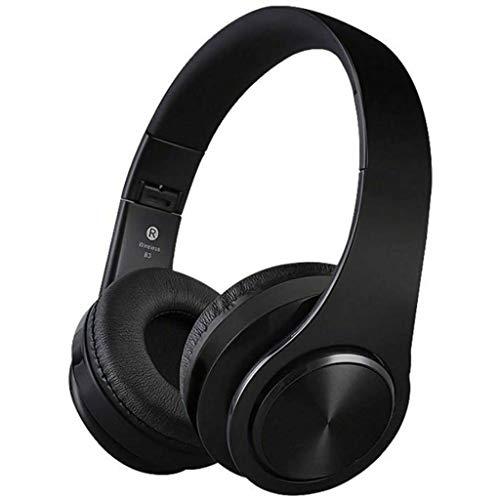 XUERUIGANG Auriculares de cancelación de Ruido Auriculares Bluetooth con micrófono/Bass de Profundidad Auriculares inalámbricos sobre Oreja para Viajes Teléfono Celular (Color: Negro)