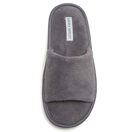 Laura Ashley Ladies Open Toe Plush Terry Slippers, Grey, Large