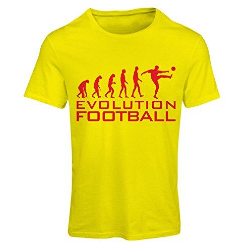 lepni.me Camiseta Mujer La evolución del fútbol - Camiseta de fanático del Equipo de fútbol de la Copa Mundial (Small Amarillo Rojo)