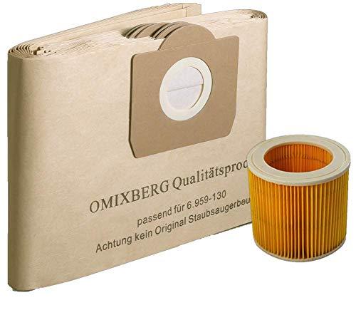 10 Staubsaugerbeutel + 1 Patronenfilter WD 3 geeignet für Kärcher 6.959-130.0 6.414-552.0 WD 3., MV3 , 4001, 4002, A2201, 2504, 2204, 2604, 2656x, 2654,2251
