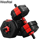 Wesfital Exercise Dumbbells Set, Hexagon Plates Adjustable Weight 22/33/44/55/68/88LBS Strength Training Equipment Barbell for Home Gym (33)