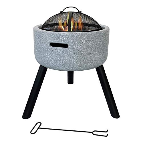 Fire Pit Bowl with Spark Guard & Poker, 58 45cm Fashionable and Artistic Magnesium Oxide Base for Outdoor Garden Barbecue Excursion