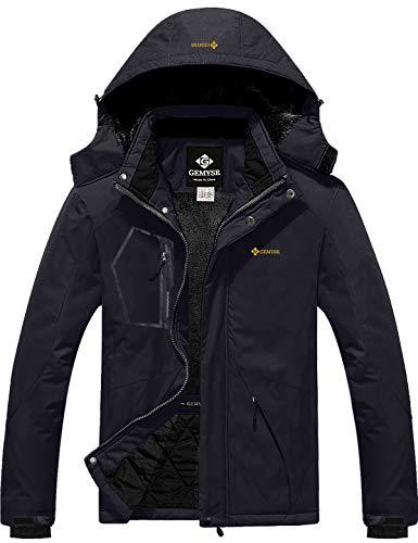 GEMYSE Chaqueta de esquí Impermeable de montaña para Hombre Abrigo de Invierno al Aire Libre de Lana a Prueba de Viento con Capucha (Negro,M)