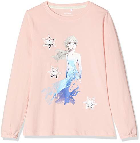 NAME IT Mädchen NMFFROZEN Brielle LS TOP WDI Sweatshirt, Rosa (Silver Pink Silver Pink), (Herstellergröße: 110)