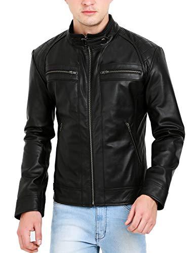 Trendtales Chaqueta de Cuero para Hombre, Piel de Cordero, Negro K738M1 XL