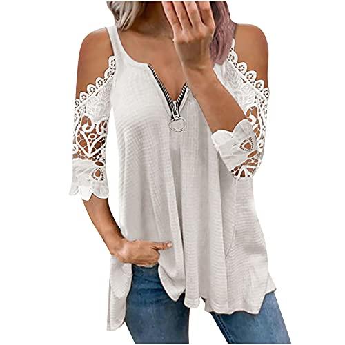 Túnica para mujer, túnica de verano, cuello en V, cierre de cremallera, manga corta, elegante, con encaje Jacquard Lace camisa Blusen Streetwear Mujer blusa para mujer Blanco M