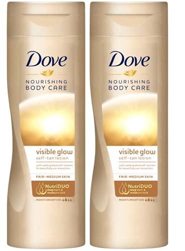 Self Tanning Lotion – 2 x 250 ml = 500 ml - Dove Gradual Fair to Medium – Dove Summer Self Tan Body Glow Cream Moisturiser
