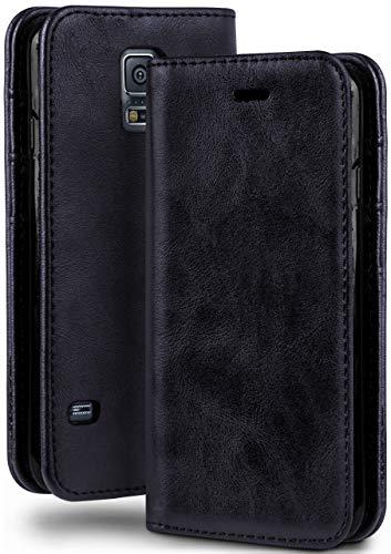 moex Booklet in Lederoptik - Kartenfächer und Aufstellfunktion passgenau für Samsung Galaxy S5 Mini | Eleganter 360 Grad Vollschutz, Dunkel-Blau