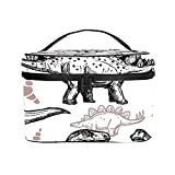 Bolso cosmético portátil del Viaje de Las señoras,Bolso del Maquillaje,Reptiles Dinosaurios prehistóricos con Huellas,Bolsa de Aseo multifunción Que recibe