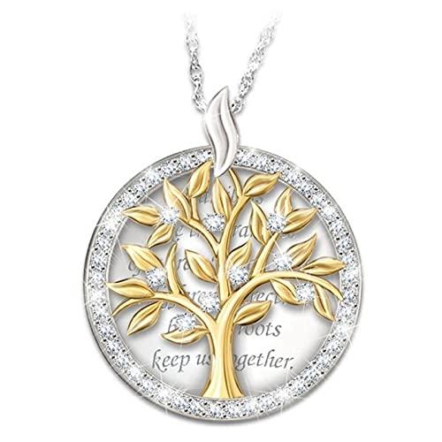 WYFLL - Colgante redondo para mujer, diseño de árbol de la vida
