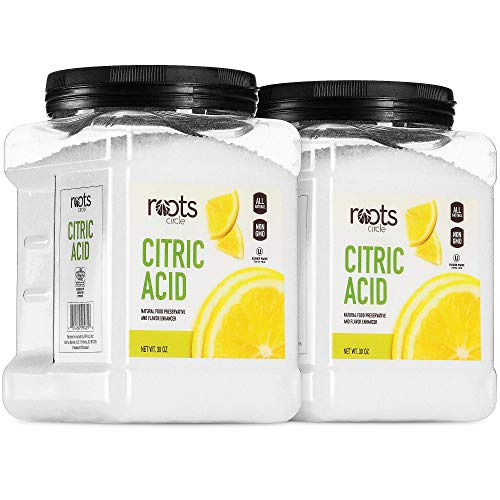 Roots Circle All-Natural Citric Acid | Food-Grade Flavor Enhancer, Household Cleaner & Preservative | Non-GMO, Kosher for Passover, Gluten-Free | For Skincare, Cooking, Baking, Bath Bombs | 2 x 30oz