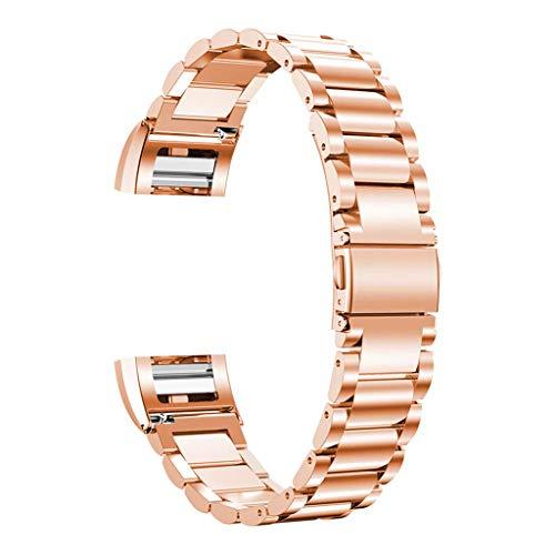 Ersetzen Sie das Compatilbe Armband aus rostfreiem Metallstahl für Fitbit Charge 2 Schnalle + Splitter, Solide Eng Jedes Polieren (Roségold)