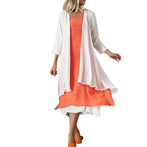 Best Prices! NANTE Top Loose Women's Dress Two Piece Cotton and Linen Suit Dresses Long Sleeve Vest ...