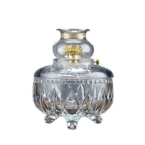 KMYX Bouddha Cristal Lampe À Huile Liquide Lampe Au Beurre Maison Lotus Offre Coupe-Vent Arrangement De La Lampe Au Kérosène Disposition De Puissance D'urgence (Color : Clear)