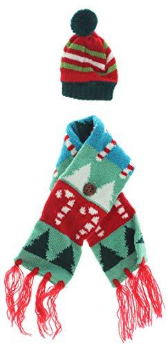 MIK Funshopping Geschenkverpackung für Weinflaschen, Weingeschenk, Flaschen-Deko Set, Flaschenkleidung, Weihnachts-Geschenk (Schal & Mütze Zuckerstange)