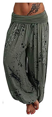 Ephemeral Womens Pantaloni più Il Formato Boemia Stampa Allentato Smocked Vita Harem Hippie Leggings Boho Ginnastica di Yoga Pants Loikktg (Color : Green, Size : 5XL)
