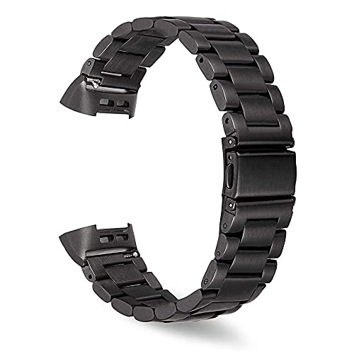 G-RF Bandas De Reloj para Fitbit Charge 3/4 Tres Cuentas De Acero Inoxidable De Metal Sólido Correa (Negro)