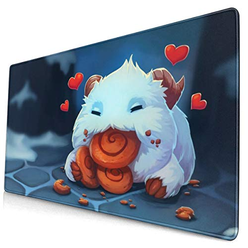 """Large Mouse Pad for League of Legends Poro with Stitched Edges Gaming Mouse Mat Non-Slip Rubber Base Mousepad for Laptop,Computer,PC,Keyboard,11.8""""x23.6"""""""