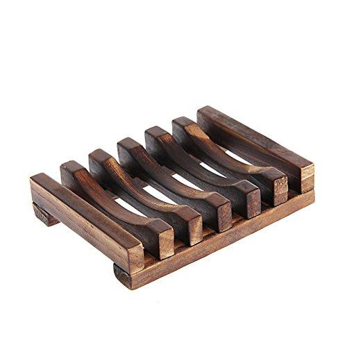 JOYKK Natuurlijke Wood zeepbakje houder badkamer doucheplaat Box Home Wash Badkamer - Carbonized kleur