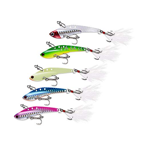 Fishing Lures Metal Fishing Jigs Sinking Spoons Hooks Ice and Saltwater Lures Bait for Trout Walleye and Flounder 5 Pack (0.45oz 0.63oz 0.88oz 1.1oz) (0.63)