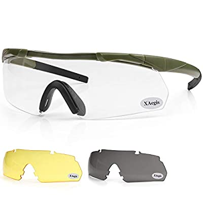 XAegis Tactical Shooting Glasses with 3 Interchangeable Lens High Impact Eye Protection for Range Safety Glasses Included Yellow,Clear, Smoke Grey Lens - Army Green Frame