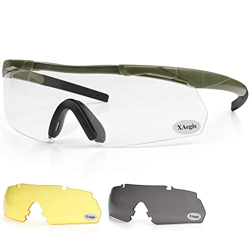 XAegis Tactical Shooting Glasses with 3 Interchangeable Lens High Impact Eye Protection