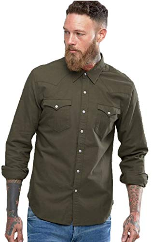 NxtSkin Men's Slim Fit Casual Shirt (SD2C6M_Dark Green_Medium)