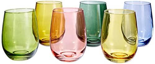 Tognana N3585D70032 Set 6 Bicchieri Tulip Multicolor CC 400, Vetro