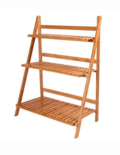 Estante 3 Capas de Marco de bambú, Soporte de la Flor, balcón del Piso, Soporte de la Planta de Interior, Escalera de Madera sólida, Multifuncional Opcional Caja de Almacenamiento